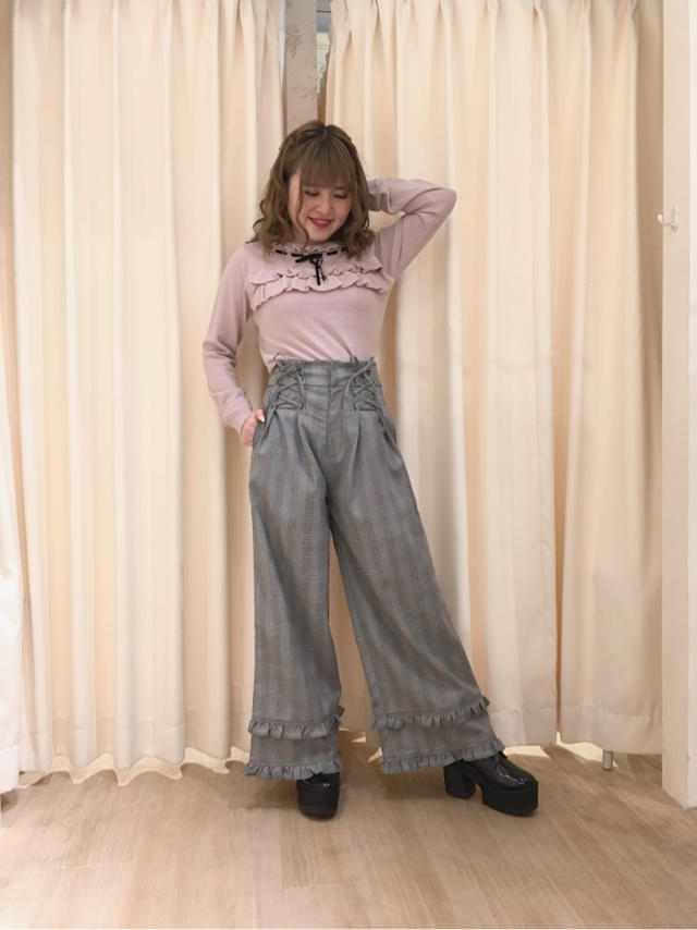 天王寺MIO♡pink×blackのpantsを使ったcasual girly code...♡